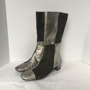 Franco Sarto Black + Silver Checker 3/4 Boot - 8.5